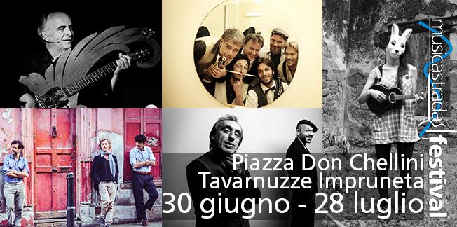 Il Musicastrada Festival a Tavarnuzze Impruneta Firenze! 5 concerti con Riccardo Marasco Orchestrina Maccheroni Swing Raiz Mesolella Forrò Mior e Paz Gitana dal 30 Giugno al 28 Luglio